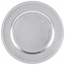 Silver Beaded Round Charger Plate 13