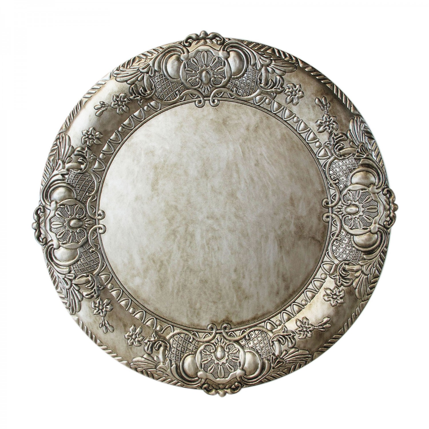 The Jay Companies 1320424 Round Embossed Silver Charger Plate 14""