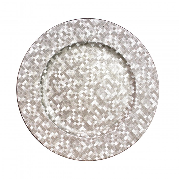 """The Jay Companies 1427591BK Round Silver Mosaic Charger Plate 13"""""""