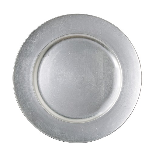 The Jay Companies 1421918LD-F Round Silver Acrylic Charger Plate 13""