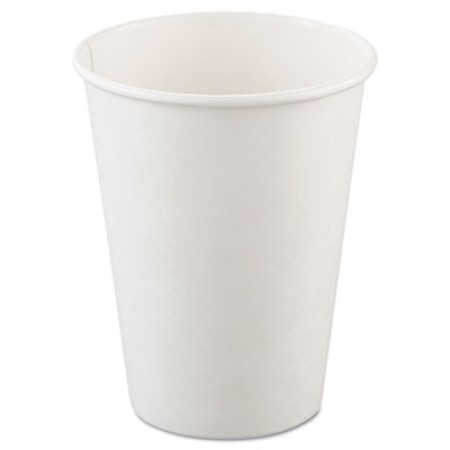 Dart Single-Sided Poly Paper Hot Cups, 12 oz., White, 1000/Carton