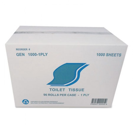 Small Roll Bath Tissue, Septic Safe, 1-Ply, White, 1000 Sheets/Roll, 96 Rolls/Carton