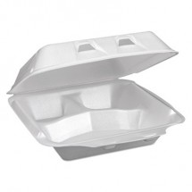 SmartLock Vented Foam Hinged Lid Containers, White, 7.5 x 8 x 2.63, 150/Carton