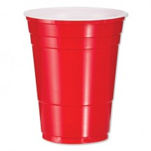 Dart Plastic Party Cold Cups, 16 oz., Red, 1000/Carton