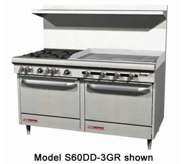 Southbend S60DD-3GR 60W S-Series Restaurant 5 Burner Gas Range with 36 Griddle on Right and 2 Standard Ovens