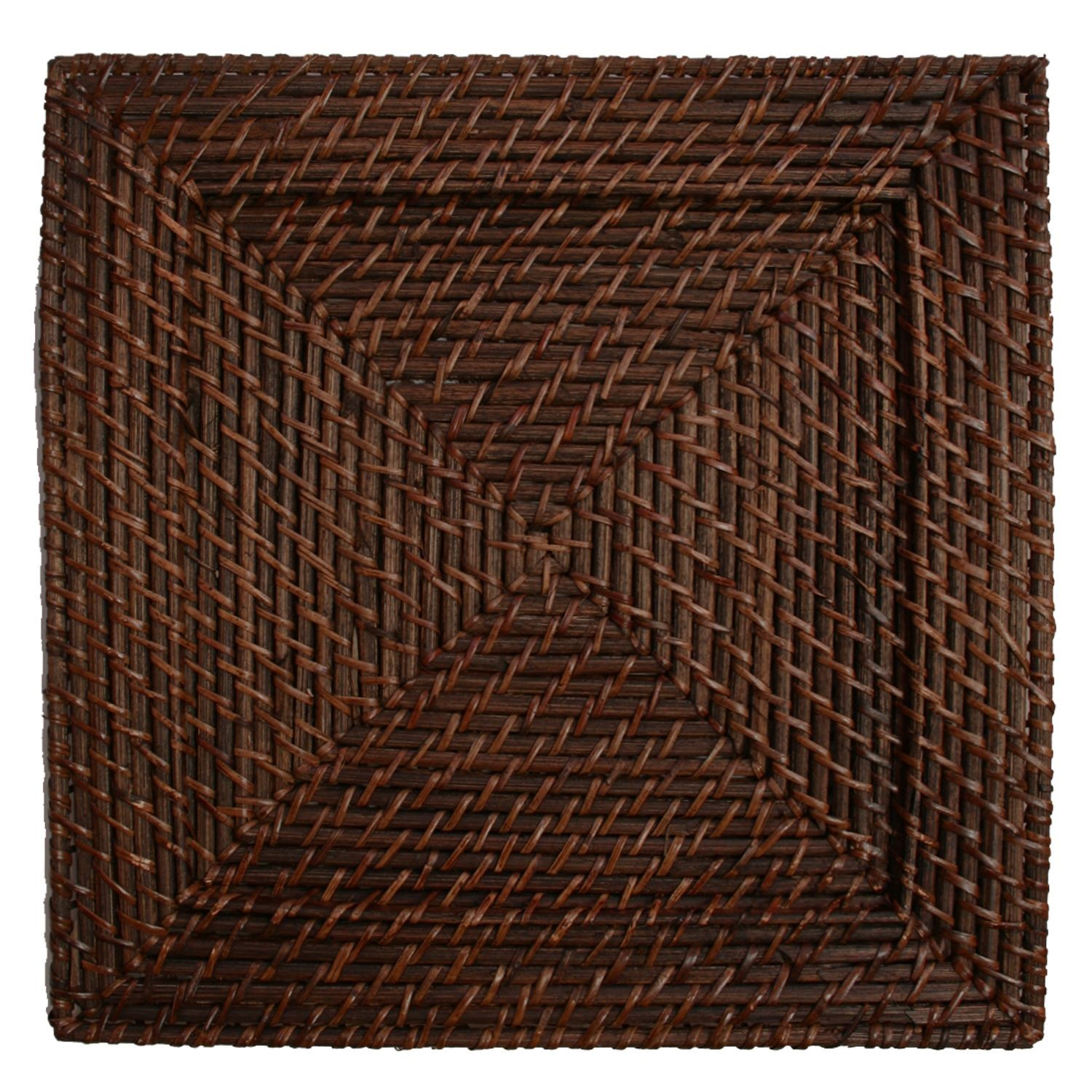The Jay Companies 1660147 Square Dark Brown Rattan Charger Plate 13""