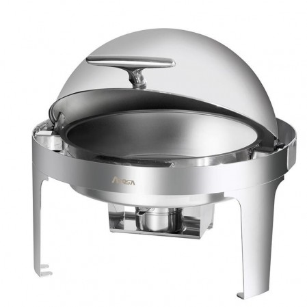 TigerChef Stainless Steel Full Size Roll Top Round Chafer, 6 Qt.