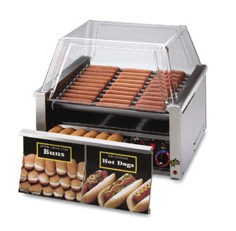 Star 30CBD Grill-Max Hot Dog Grill with Chrome-Plated Rollers and Built-in Bun Drawer