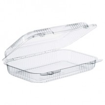 Dart StayLock Clear Hinged Lid Containers, 9.4 x 6.8 x 2.1,, 250/Carton
