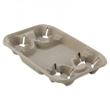 Chinet StrongHolder Molded Fiber Cup/Food Tray, 8-22oz, Four Cups, 250/Carton