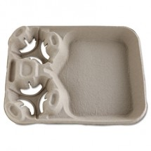StrongHolder Molded Fiber Cup/Food Trays, 8-44oz, 2-Cup Capacity, 100/Carton