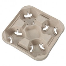 StrongHolder Molded Fiber Cup Trays, 8-32oz, Four Cups, 300/Carton