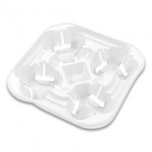 Chinet Strongholder Molded Fiber 4-Cup Tray, 8-22 oz., 300/Carton