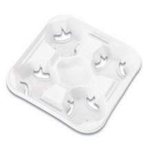 Chinet Strongholder Molded Fiber 4-Cup Tray, 8-32 oz., 300/Carton