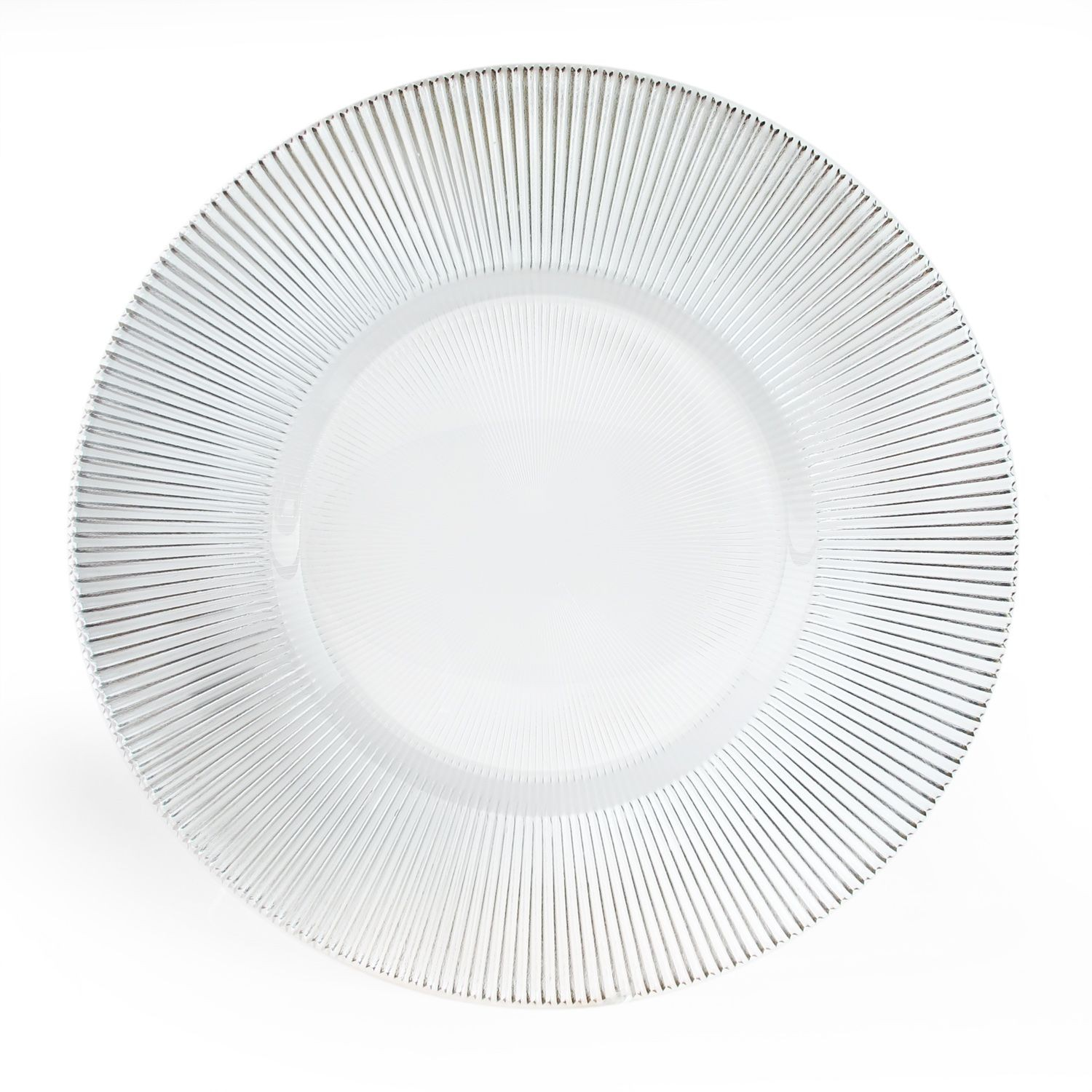 The Jay Companies 1900035 Round Sunray Clear Glass Charger Plate 13""