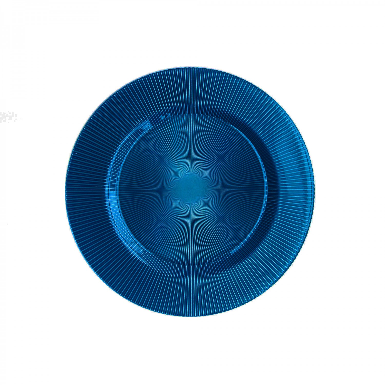 The Jay Companies 1470345 Round Sunray Cobalt Glass Charger Plate 13""