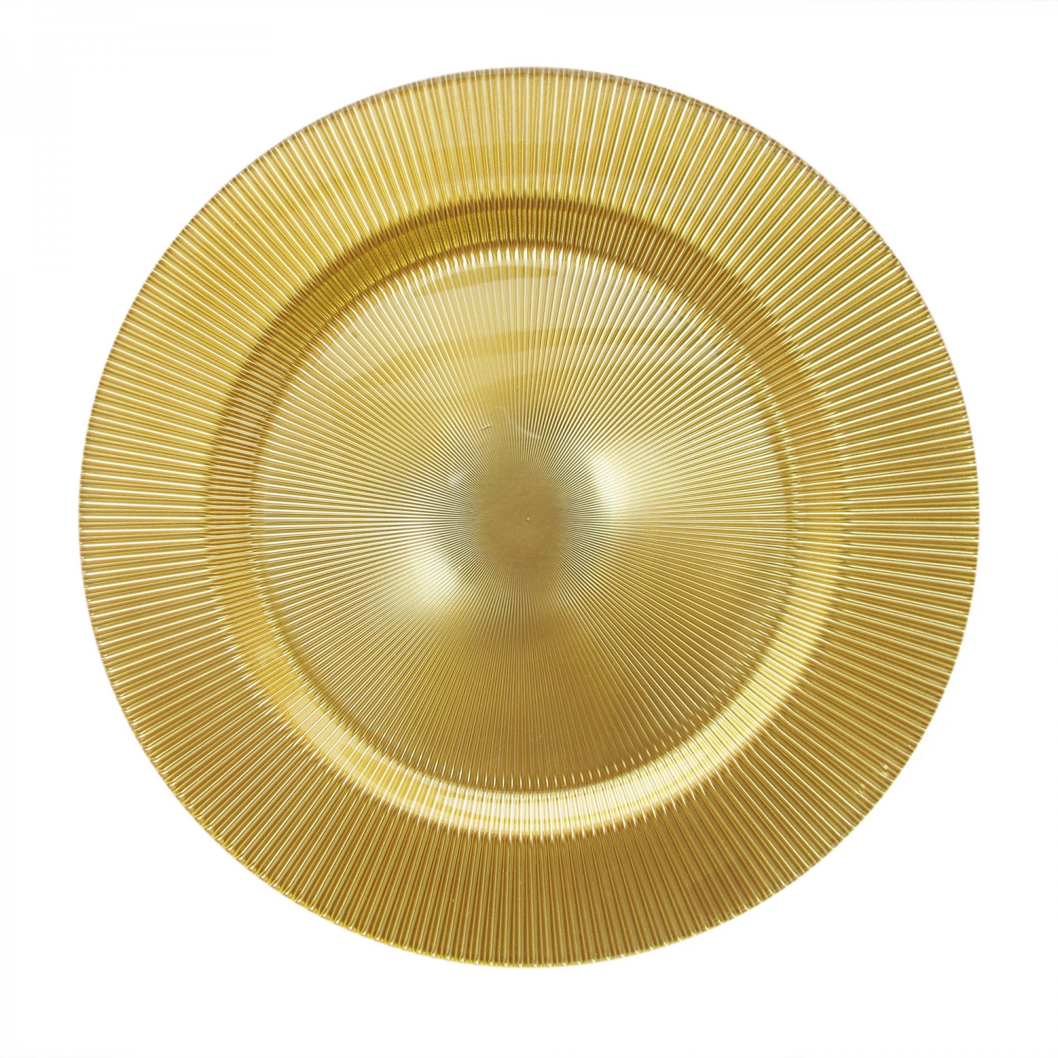 The Jay Companies 1470349 Round Sunray Gold Glass Charger Plate 13""