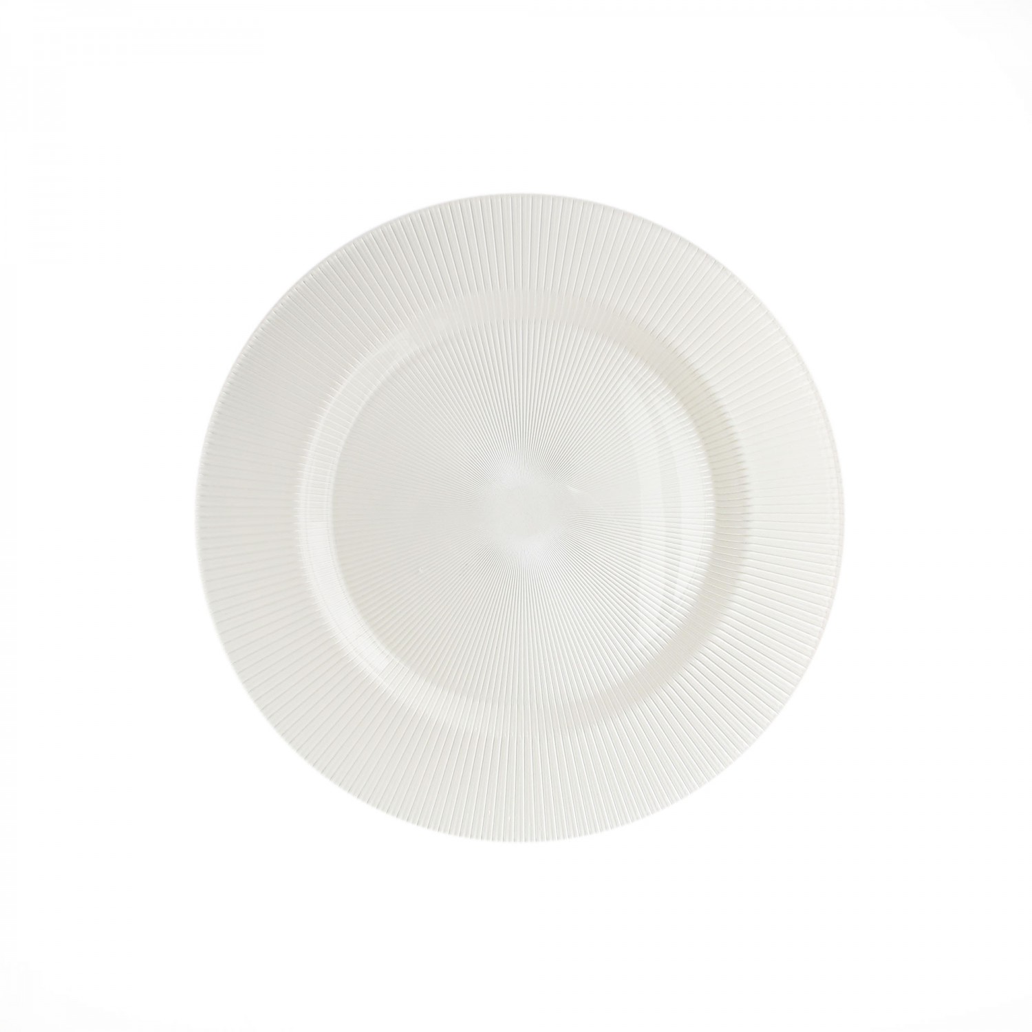 The Jay Companies 1470344 Round Sunray Pearl White Glass Charger Plate 13""