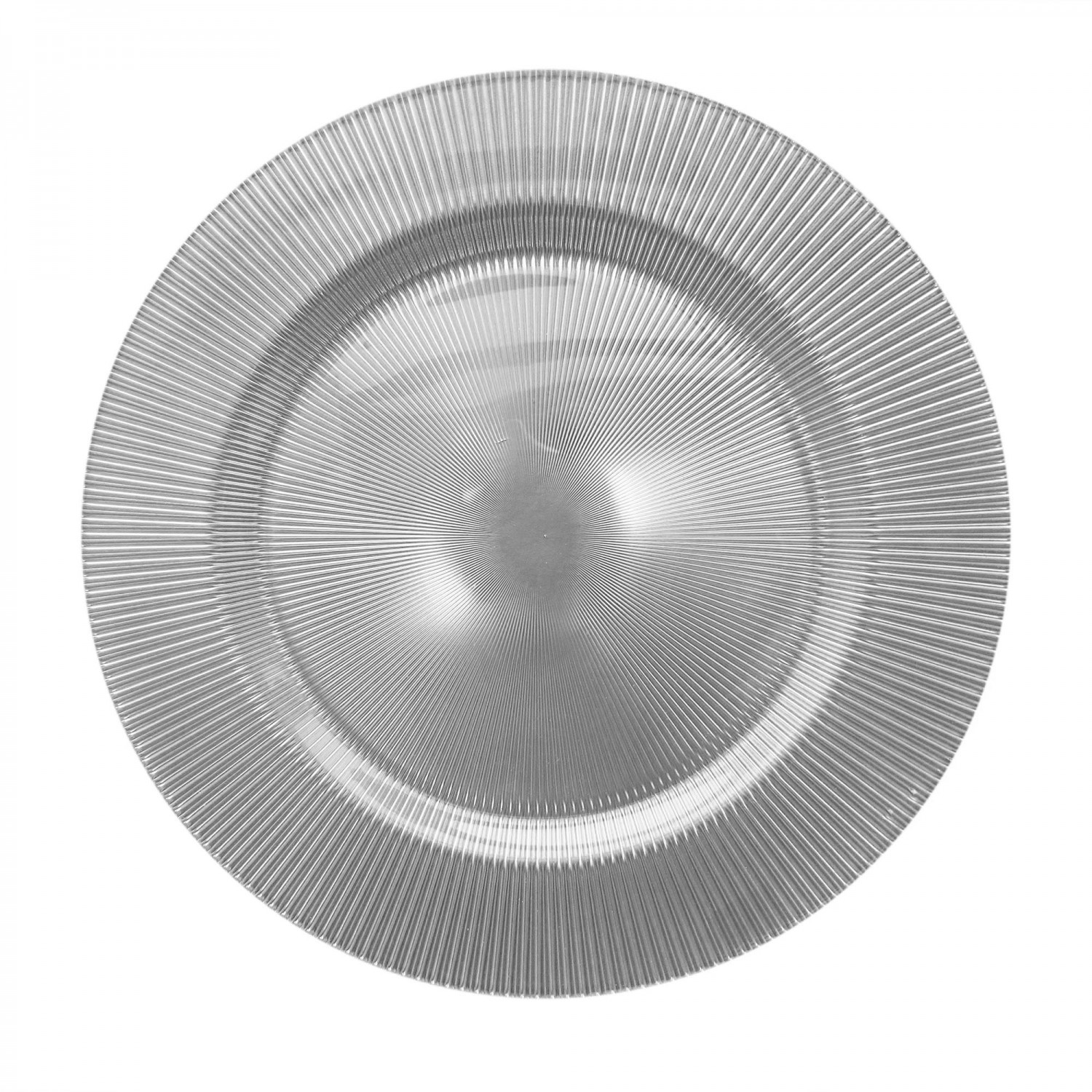 The Jay Companies 1470346 Round Sunray Silver Glass Charger Plate 13""