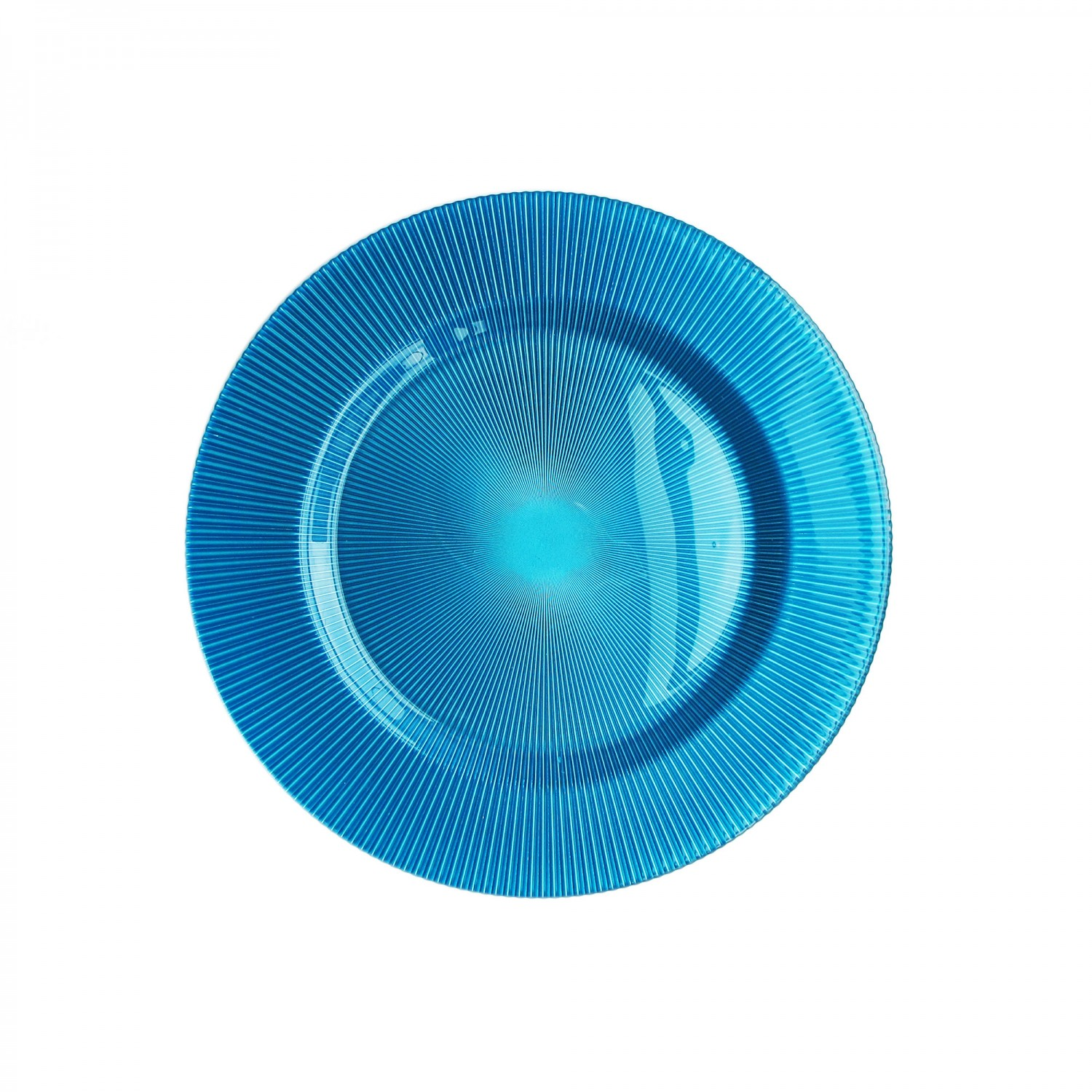 The Jay Companies 1470343 Round Sunray Turquoise Glass Charger Plate 13""