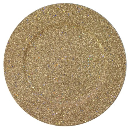 The Jay Companies 1180018 Glitter and Stars Gold Charger Plate 13""