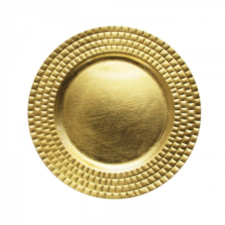 """The Jay Companies 13"""" Round Gold Tiled Charger Plate"""