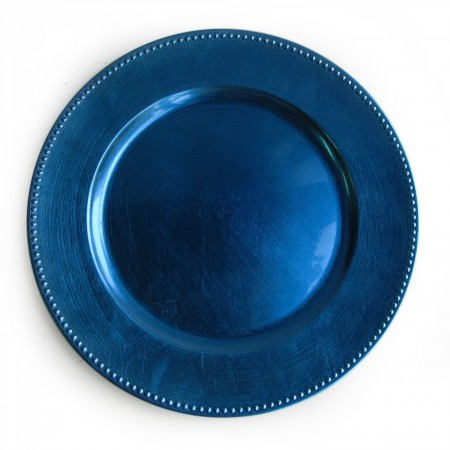 """The Jay Companies 1270168 Round Royal Blue Beaded Charger Plate 13"""""""