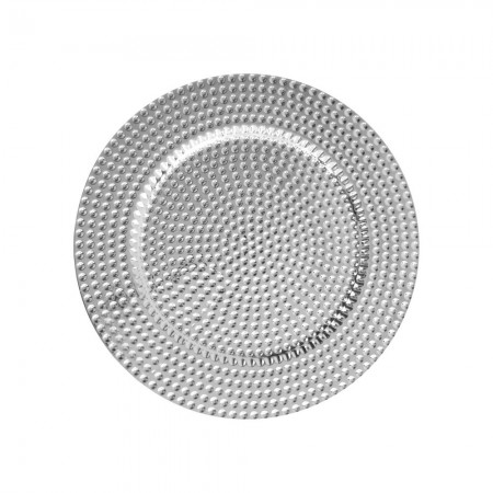 """The Jay Companies 1270276-4 Round Silver Beaded Charger Plate 13"""""""
