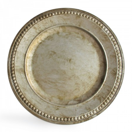 """The Jay Companies 1320376 Round Beaded Silver Charger Plate 14"""""""