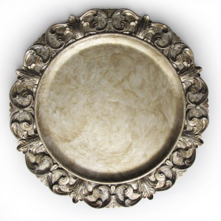 """The Jay Companies 1320390 Round Embossed Silver Charger Plate 14"""""""