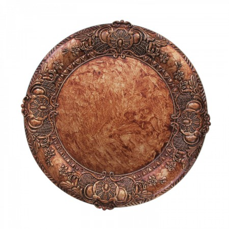 """The Jay Companies 1320428 Round Embossed Copper Charger Plate 14"""""""