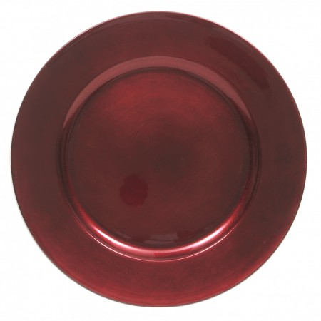 """The Jay Companies 1421919BK-F Red Round Charger Plate 13"""""""