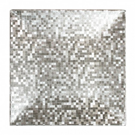 """The Jay Companies 1427368BK Square Mosaic Silver Charger Plate 12"""""""