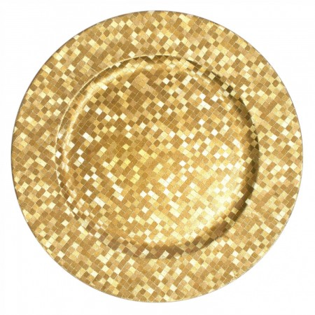 The Jay Companies 1427590BK Round Gold Mosaic Charger Plate 13""