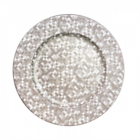 The Jay Companies 1427591BK Round Silver Mosaic Charger Plate 13""