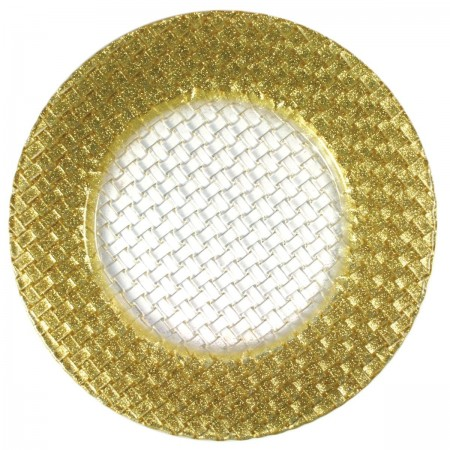"""The Jay Companies 1470058 Round Glass Braid Gold Glitter Charger Plate 13"""""""