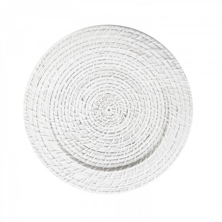 """The Jay Companies 1660151 Round White Rattan Charger Plate 13"""""""