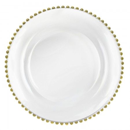 The Jay Companies 1900007 Round Gold Beaded Charger Plate 13""