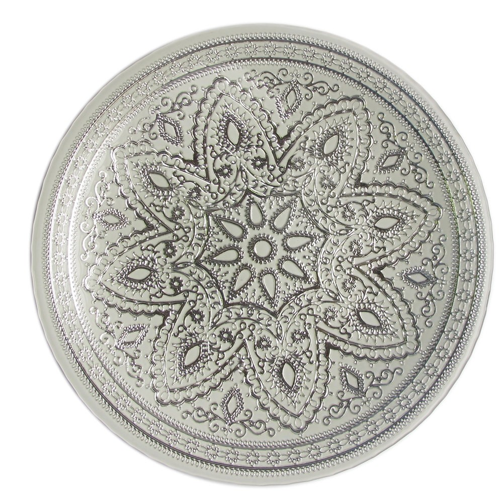 The Jay Companies 1900052 Round Divine Silver Glass Charger Plate 13""