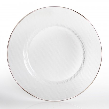 """The Jay Companies 1970002 Round Glass Charger Plate with Platinum Rim 13"""""""