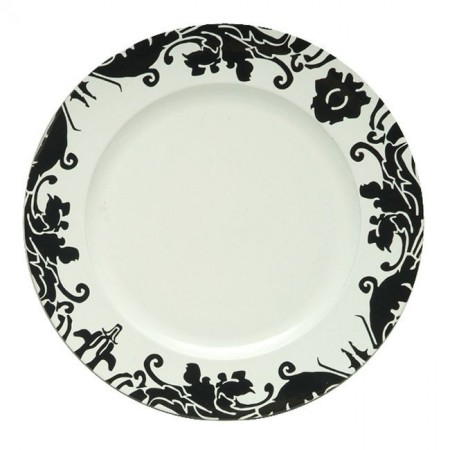 """The Jay Companies 28A31E-XW Round Black Brocade Charger with White Center 13"""""""