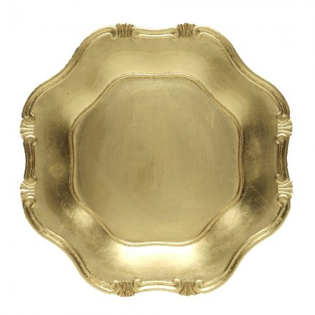 The Jay Companies A275GR Gold Baroque Polypropylene Charger Plate 13""