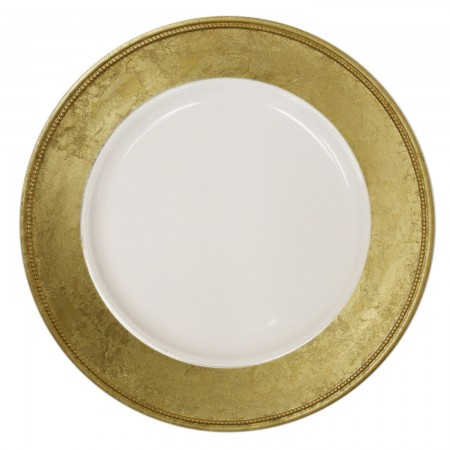 """The Jay Companies A466GRK-W Round Gold Leaf Rim Charger Plate 13"""""""