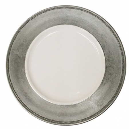 The Jay Companies A466HRK-W Round Silver Leaf Rim Charger Plate 13""