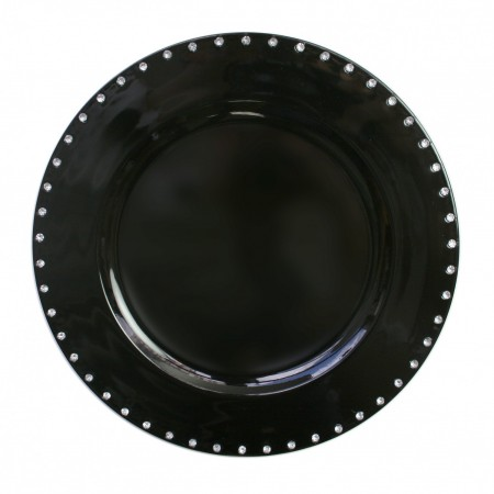 """The Jay Companies A467BK Round Black Jeweled Rim Charger Plate 13"""""""
