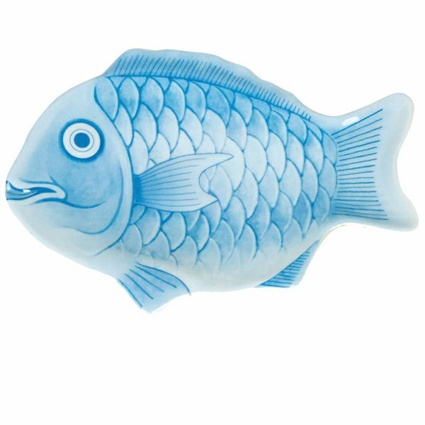 "Thunder Group 1200CFB Blue Fish Shape Melamine Platter 12"" - 1 doz"