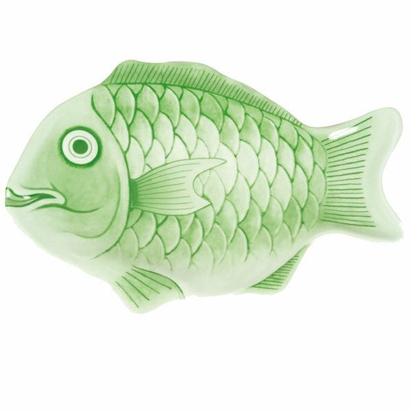 "Thunder Group 1400CFG Light Green Fish Shape Melamine Platter 14"" - 3 pcs"