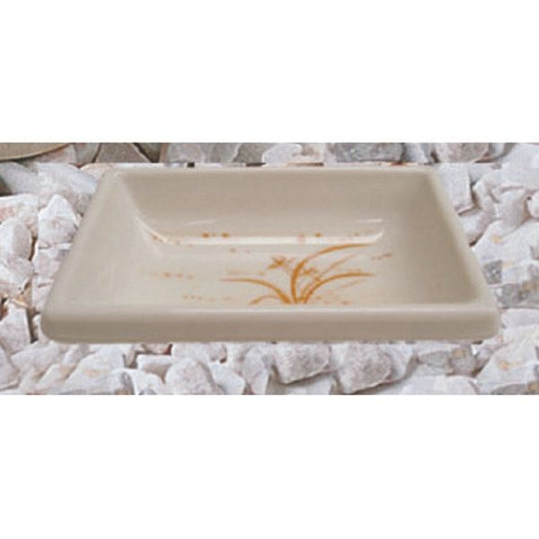 "Thunder Group 1901GD Gold Orchid Rectangular Sauce Dish 3-3/4"" x 2-1/2"""
