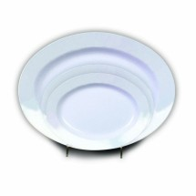 "Thunder Group 2114TW Imperial White Melamine Oval Shaped Deep Platter 14-1/8"" x 10-5/8"""