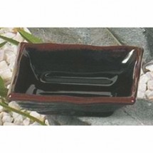 "Thunder Group 2404TM Tenmoku Square Sauce Dish 4"" x 4"""